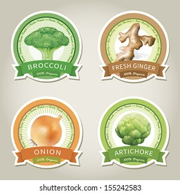 Set of vector labels with vegetables and spices