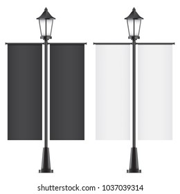 Set of vector lamposts, with black and white advertising flags, isolated on a white backgorund. Vertical promotional double sided flags realistic mockups.