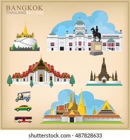 Set of vector landmark in Bangkok Thailand.