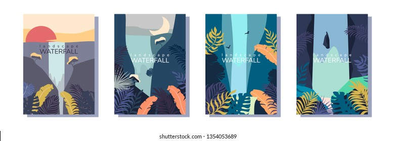 Set of vector landscape with waterfall. Eps 10.