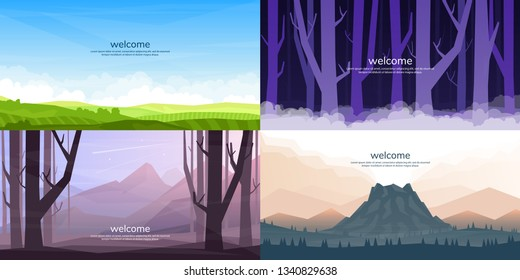 """A set of vector landscapes in a flat style. Night forest, field, volcano and mountains. Colored wallpapers in a polygonal style with the words """"welcome"""""""