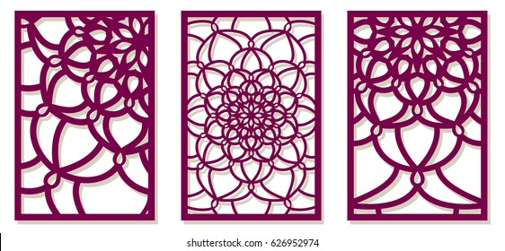 Set of Vector Laser cut panels. Pattern template for decorative panel. Wall vinyl art decor. Stock vector.