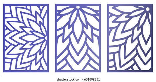 Set of Vector Laser cut panels with flowers. Pattern template for decorative panel. Wall vinyl art decor. Stock vector.