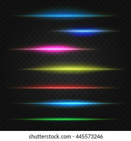 set of vector lens flares lines. vector illustration
