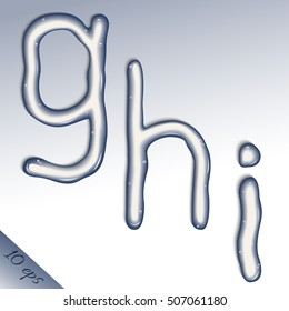 """Set of vector letters """"g, h, i"""" from pure water"""