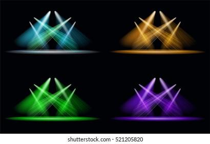 Set of Vector Light Effect Spotlight. Editable.