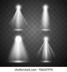 Set vector light sources, stage spotlights set, illuminated spotlights for scene illumination collection. Eps 10