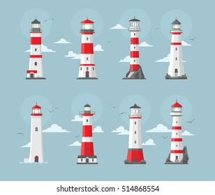 Set of vector ligth house illustration in flat style