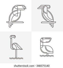 Set of vector line art logo with exotic tropical birds. Outline illustrations of toucan, cockatoo parrot, flamingo and pelican. Trendy icons and design elements.
