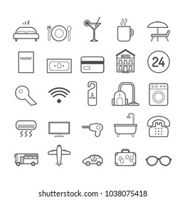 Set of vector line hotel icons for web design and decoration