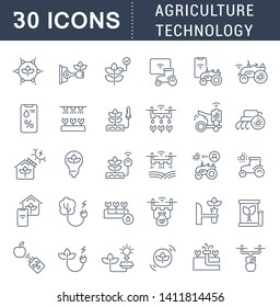 Set of vector line icons of agriculture technology for modern concepts, web and apps.