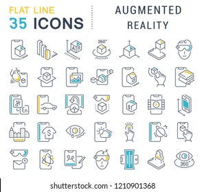 Set of vector line icons of augmented reality for modern concepts, web and apps.
