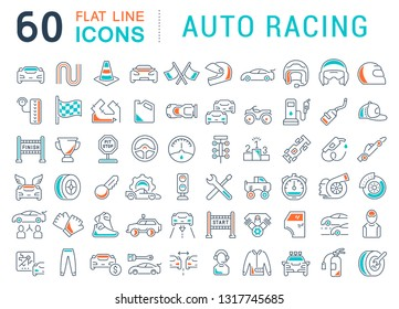 Set of vector line icons of auto racing for modern concepts, web and apps.