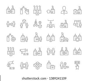 Set of vector line icons of b2b for modern concepts, web and apps.