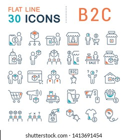 Set of vector line icons of b2c for modern concepts, web and apps.