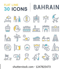 Set of vector line icons of Bahrain for modern concepts, web and apps.