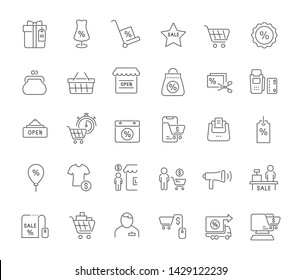 Set of vector line icons of black friday for modern concepts, web and apps.