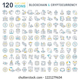 Set of vector line icons of blockchain and cryptocurrency for modern concepts, web and apps.