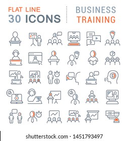 Set of vector line icons of business training for modern concepts, web and apps.