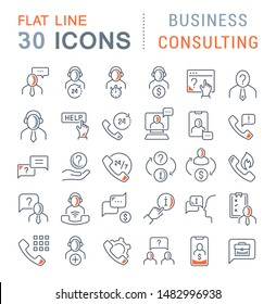 Set of vector line icons of business consulting for modern concepts, web and apps.