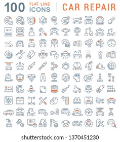 Set of vector line icons of car repair for modern concepts, web and apps.