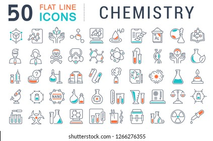 Set of vector line icons of chemistry for modern concepts, web and apps.