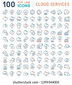 Set of vector line icons of cloud services for modern concepts, web and apps.
