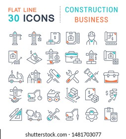 Set of vector line icons of construction business for modern concepts, web and apps.