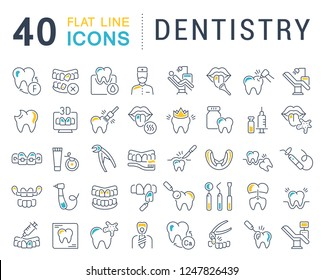 Set of vector line icons of dentistry for modern concepts, web and apps.