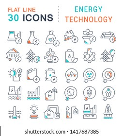 Set of vector line icons of energy technology for modern concepts, web and apps.