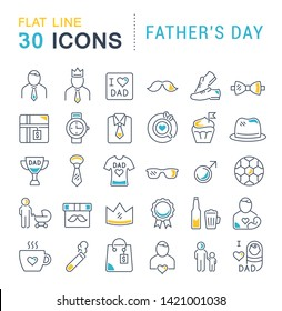 Set of vector line icons of father's day for modern concepts, web and apps.