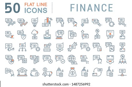 Set of vector line icons of finance for modern concepts, web and apps.