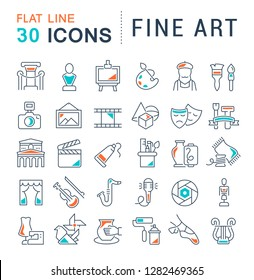 Set of vector line icons of fine art for modern concepts, web and apps.