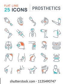 Set of vector line icons with flat elements of prosthetics for modern concepts, web and apps.