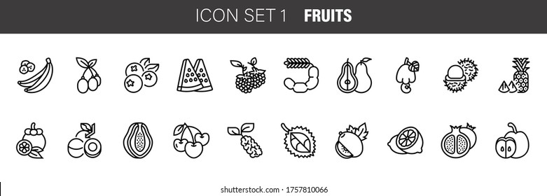 Set vector line icons in flat design Fruit with elements for mobile concepts and web apps. Collection modern infographic logo and pictogram.