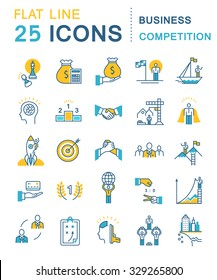 Set vector line icons in flat design business competition, leadership development, people management with elements for mobile concepts and web apps. Collection modern infographic logo and pictogram