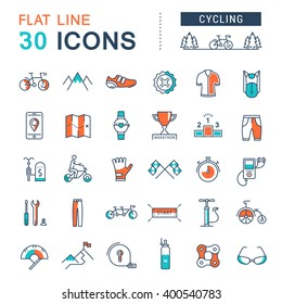 Set vector line icons in flat design cycling, bike elements and parts, bicycle sport with elements for mobile concepts and web apps. Collection modern infographic logo and pictogram.