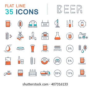 Set vector line icons in flat design beer, bottle, glass, mug and pub logo with elements for mobile concepts and web apps. Collection modern infographic logo and pictogram.