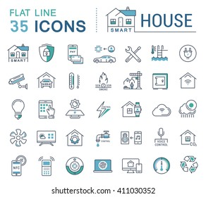 Set vector line icons in flat design smart home, smart systems and technology with elements for mobile concepts and web apps. Collection modern infographic logo and pictogram.