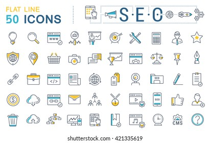 Set vector line icons in flat design with elements SEO and web design for mobile concepts and web apps. Collection modern infographic logo and pictogram.