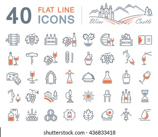 Set vector line icons in flat design wine making, grape cultivation, tasting, storage and sale of wine with elements for mobile concepts and web apps. Collection modern infographic logo and pictogram.