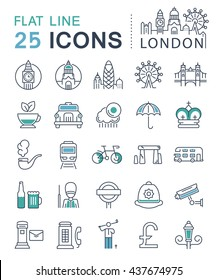 Set vector line icons in flat design London, England and tourism with elements for mobile concepts and web apps. Collection modern infographic logo and sign.