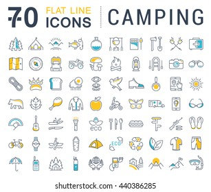Set vector line icons in flat design camping, eco and ecotourism with elements for mobile concepts and web apps. Collection modern infographic logo and pictogram.