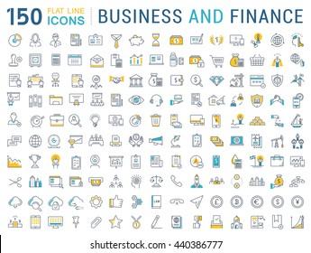 Установите значки векторной линии в сфере дизайна, финансов и бухгалтерского учета с элементами для мобильных концепций и веб-приложений. Коллекция современного инфографического логотипа и пиктограммы.