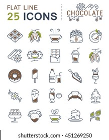 Set vector line icons in flat design chocolate, dessert, cacao and candy with elements for mobile concepts and web apps. Collection modern infographic logo and pictogram.