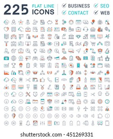 Set vector line icons in flat design business, seo, contact and smart technology with elements for mobile concepts and web apps. Collection modern infographic logo and pictogram.