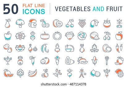 Set vector line icons in flat design Vegetable, Fruit and Healthy food with elements for mobile concepts and web apps. Collection modern infographic logo and pictogram.