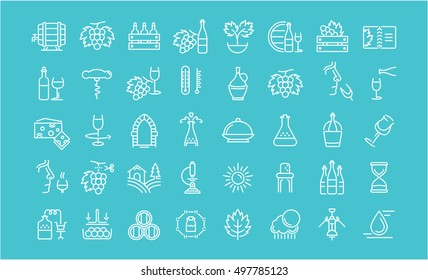 Set vector line icons in flat design  making, grape cultivation, tasting, storage and sale of wine with elements for mobile concepts and web apps. Collection modern infographic logo and pictogram.