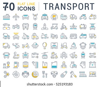 Set vector line icons in flat design transport, mechanics, electronics with elements for mobile concepts and web apps. Collection modern infographic logo and pictogram.