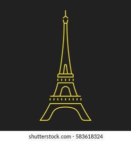 Set vector line icons in flat design Paris architecture and France building with elements for mobile concepts and web apps. Modern infographic logo and pictogram.
